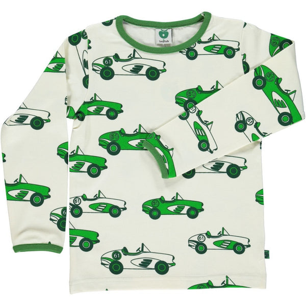 Smafolk t-shirt l/s, green cars<br>Size 1-8 years