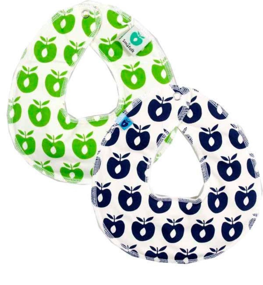 Smafolk turnable bib, navy/green apples