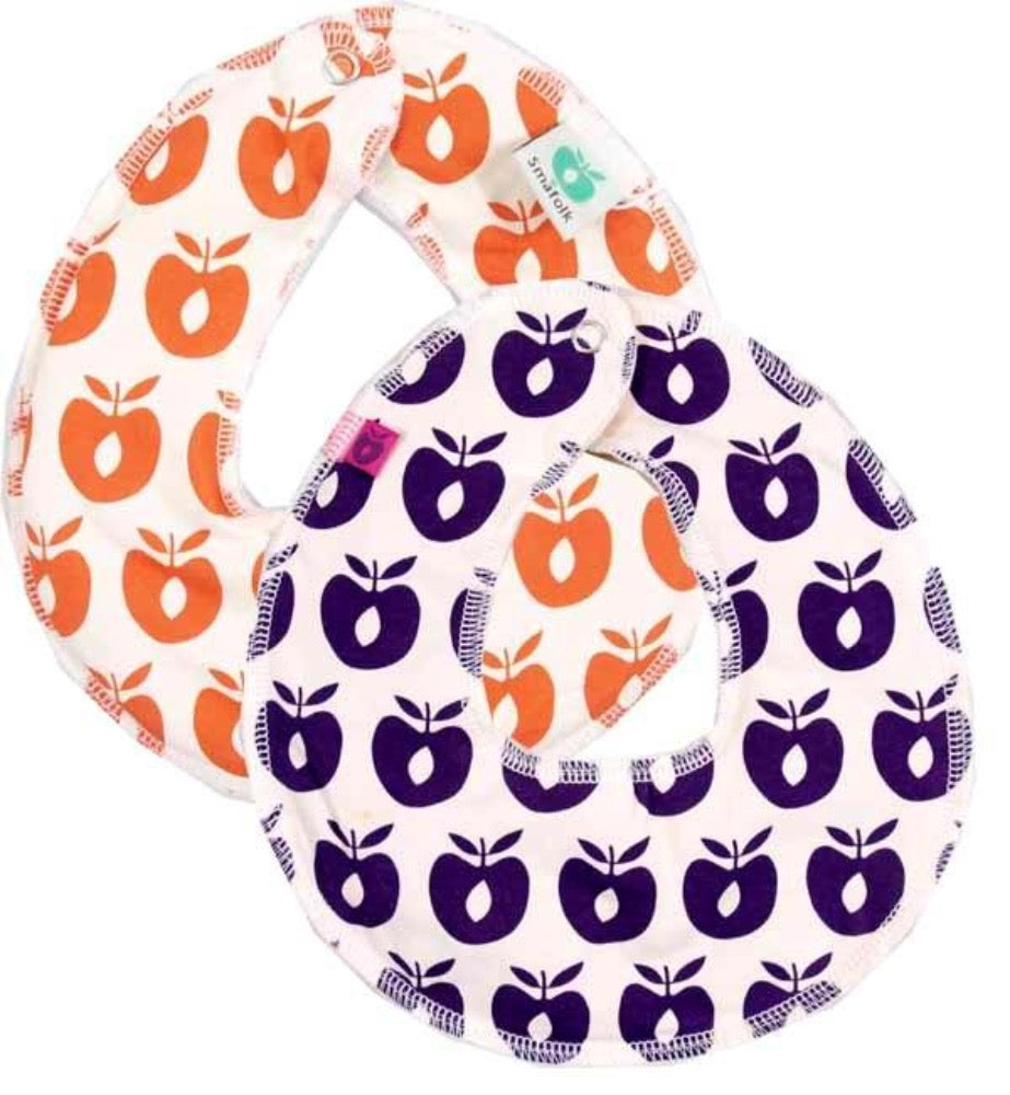 Smafolk turnable bib, purple/orange apples