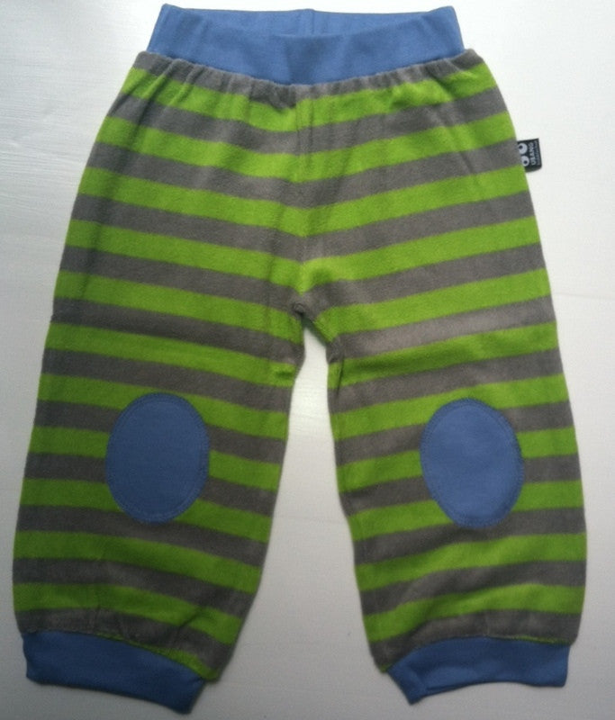 UBANG baby terry pants, green stripes