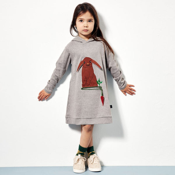 Ubang Organic Hooded Dress - Grey Melange