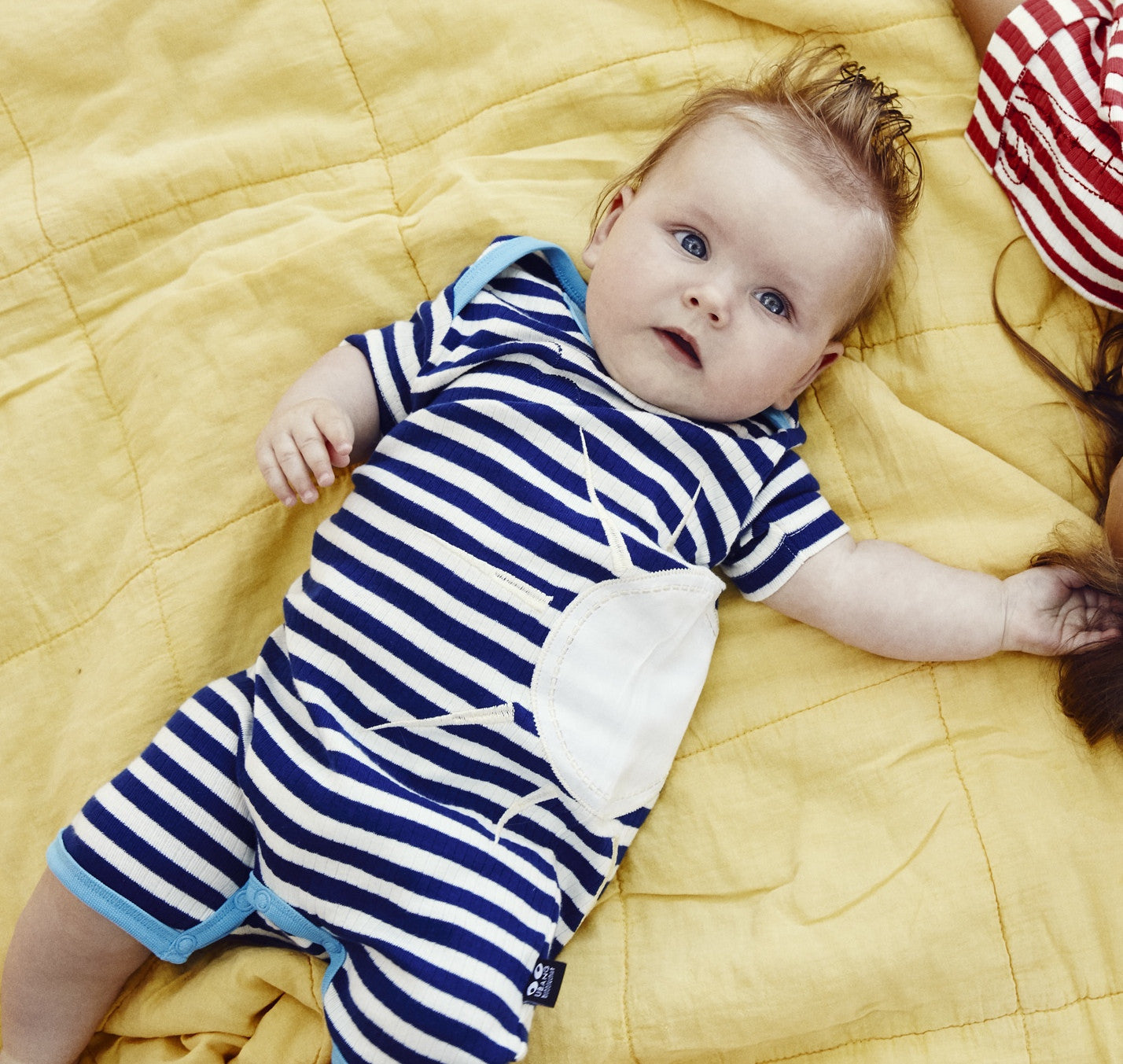 UBANG organic sunsuit, navy stripes