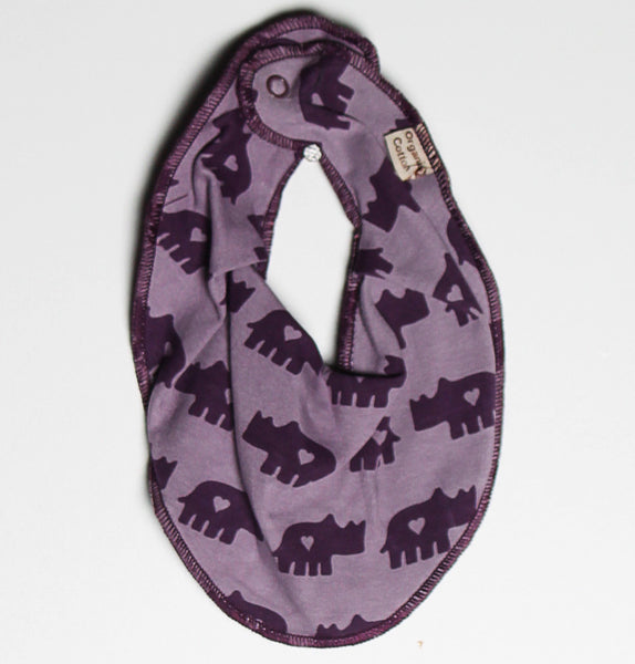 Urban Elk charm bib, Rhino march<br>100% organic-cotton