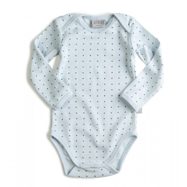Wheat baby blue bodysuit, mini star print