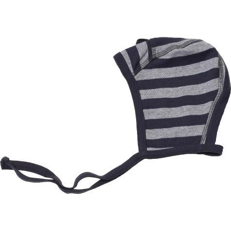 Wheat baby cap, dark blue/gray stripes