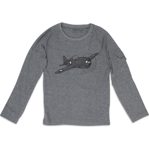 Wheat baby t-shirt airplane, grey