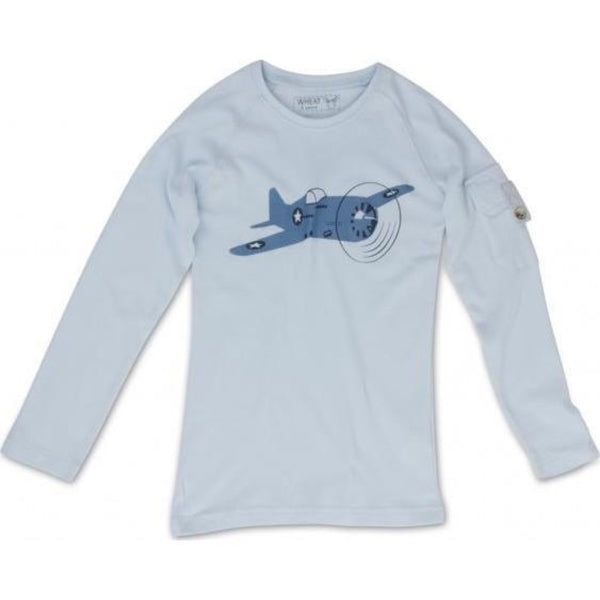 Wheat baby t-shirt airplane, light blue