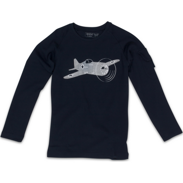 Wheat baby  t-shirt airplane, navy