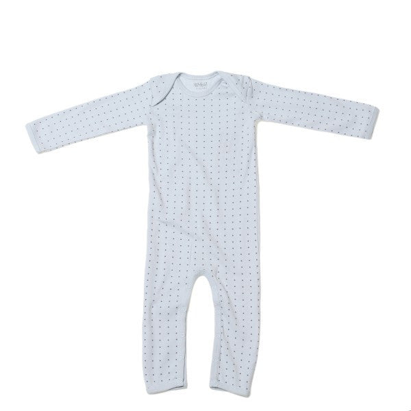 Wheat one-piece, baby blue, star print