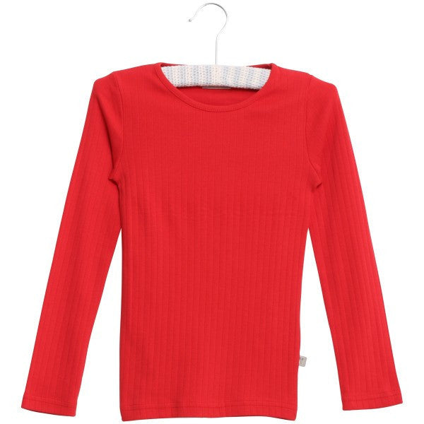 Wheat basic rib t-shirt l/s, red<br>Size 18M-10Y