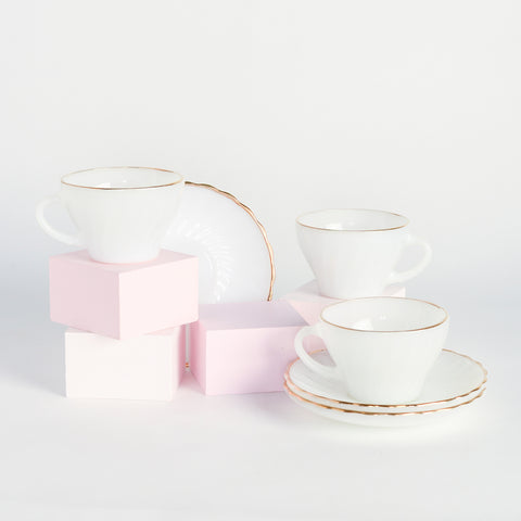 Random Acts of Pastel / white and gold tea set