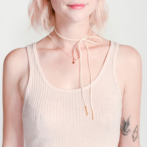 Random Acts of Pastel / pink and rose gold choker tie