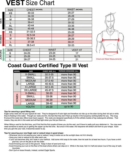 Eagle Sports Size Chart Vests