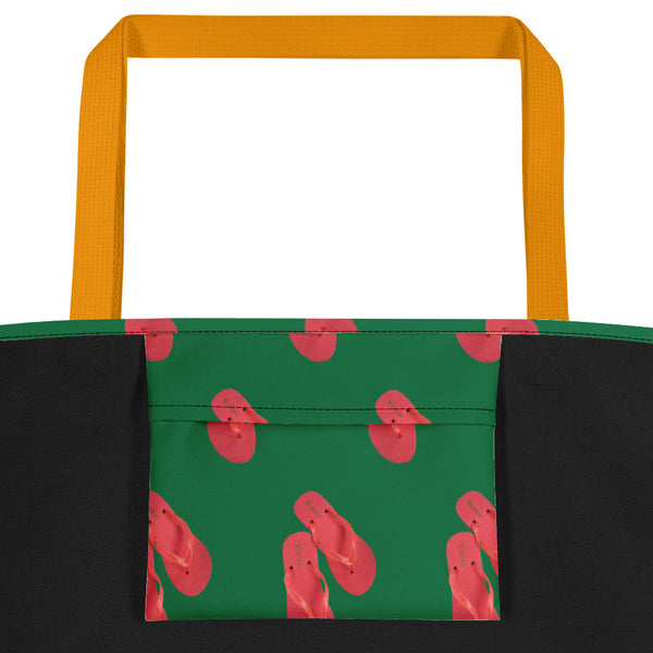 Lolamart Flip Flops All Over Print Green Tote Beach Bags