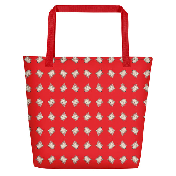 Lolamart Bull Terrier Diamond Logo All Over Print Red Beach Bag