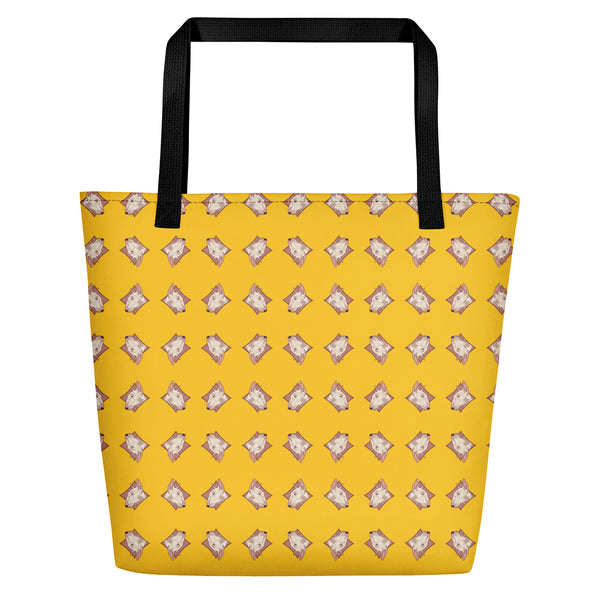 Lolamart Bull Terrier Diamond Logo All Over Print Yellow Beach Bag