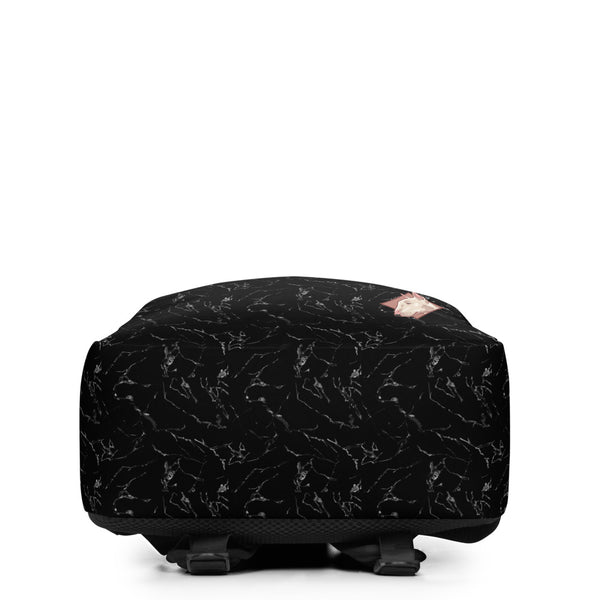 Lolamart Black Marble Print Travel Laptop Bag Minimalist Backpack