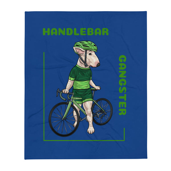Handlebar Gangster Cycling Green Jersey Lysa Bike Bicycle MTB Blue Throw Blanket