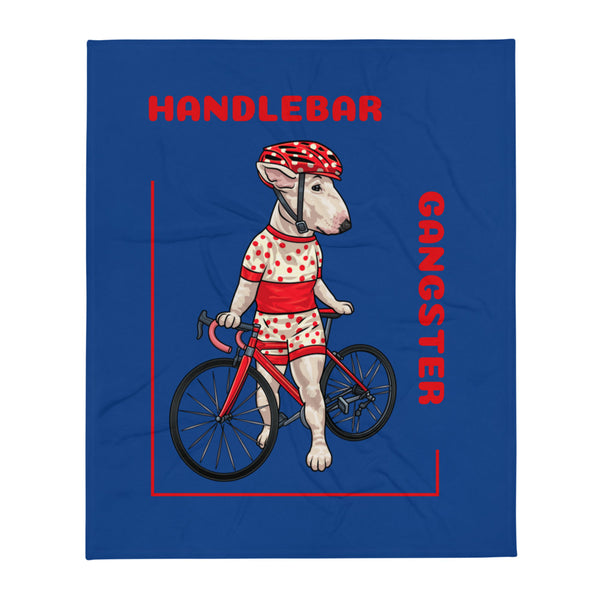 Handlebar Gangster Cycling Polka Dots Jersey Ally Bike Bicycle MTB Blue Throw Blanket