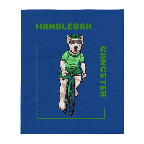 Handlebar Gangster Cycling Green Jersey Thony Bike Bicycle MTB Blue Throw Blanket