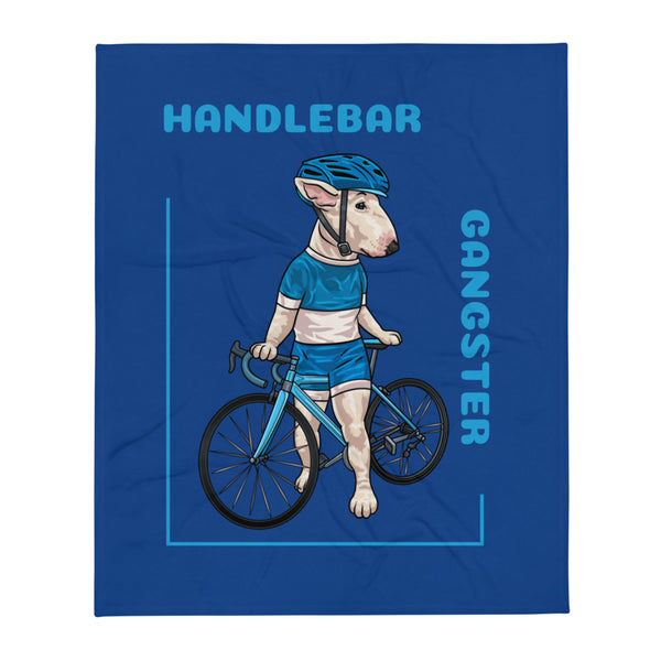 Handlebar Gangster Cycling Blue Jersey Wendy Bike Bicycle Blue Throw Blanket