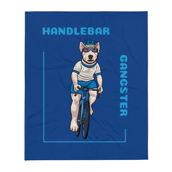 Handlebar Gangster Cycling White Jersey Henry Bike Bicycle MTB Blue Throw Blanket