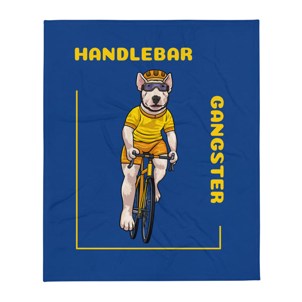 Handlebar Gangster Cycling Yellow Jersey Terry Bike Bicycle Blue Throw Blanket