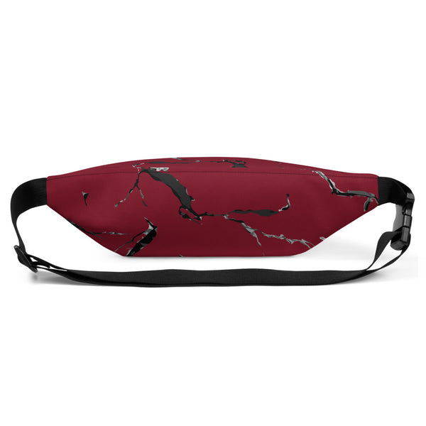 Lolamart Dark Red Marble Print Belt Bag Travel Sports Fanny Pack