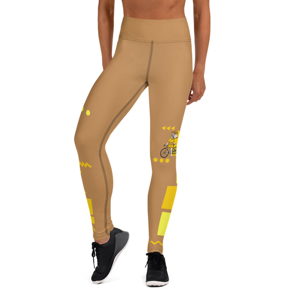 Handlebar Gangster Cycling Nude Yellow Jersey Road Bike Leggings