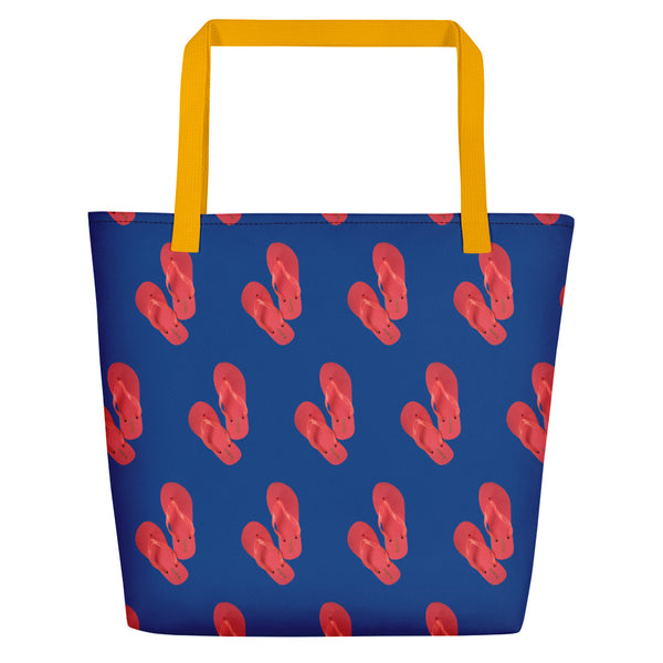 Lolamart Flip Flops  All Over Print Blue Tote Beach Bags