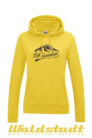 """Life is a Mountain"" Girls Hoodie gelb"
