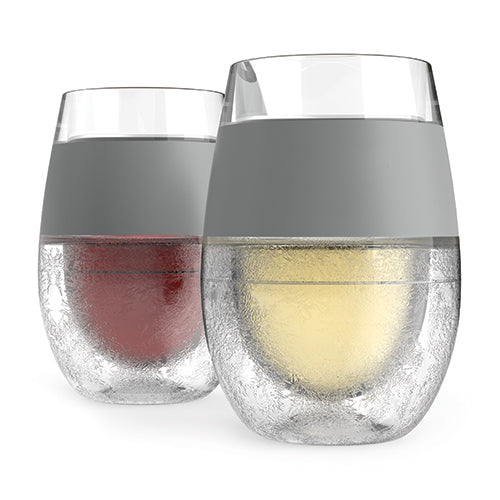 Wine FREEZE Cooling Cups (set of 2) Grey