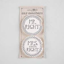 Car Coasters Mr. and Mrs Right-set of 2 - Market Street Boutique St Augustine