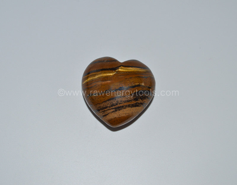 Tiger's Eye Puffy Heart - Raw Energy Tools
