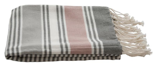 Cotton Stripe Hammam Towel - Grey/Pink