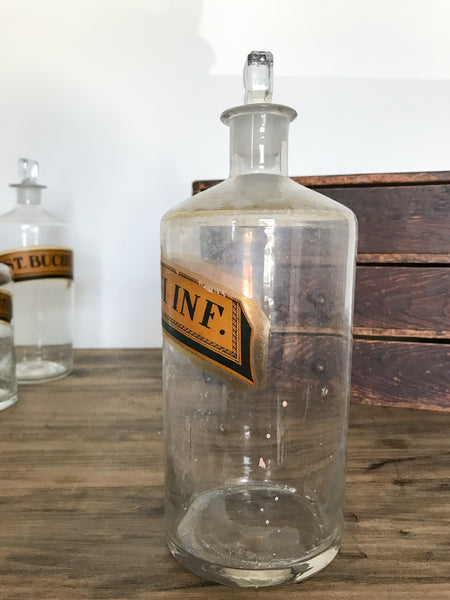 Antique Glass Apothecary Bottle (MIST. TUSSI INF.)