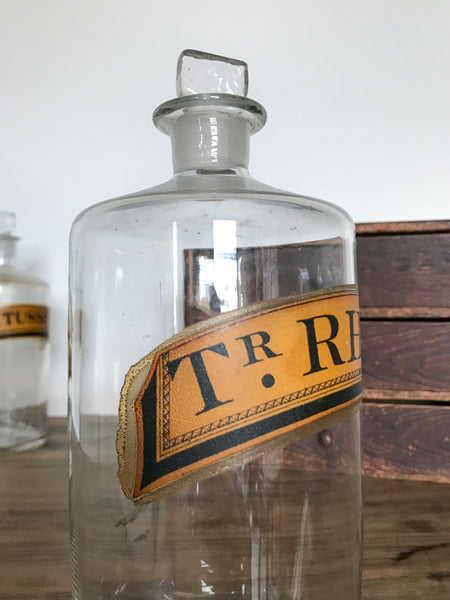 Antique Glass Apothecary Bottle (TR. RHEI C.)