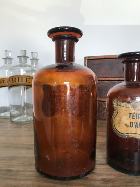 Vintage Amber Apothecary Bottle