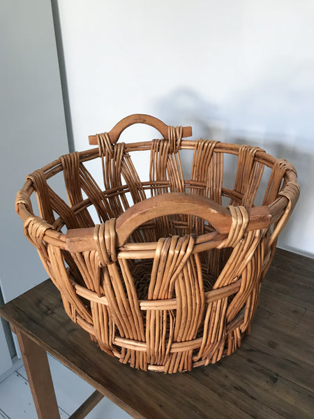 Large Round Vintage Wicker Basket