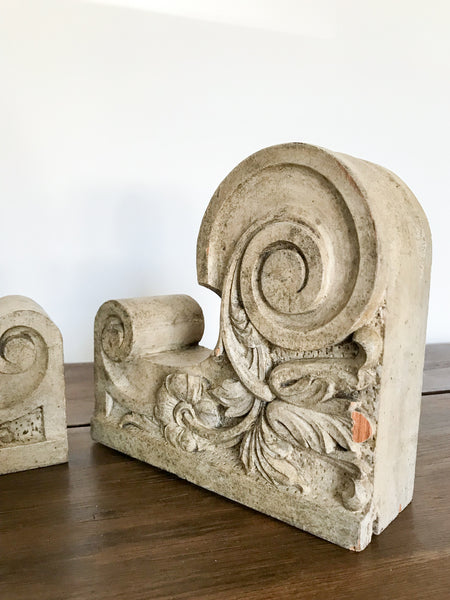 Vintage Pair of Decorative Wooden Corbels