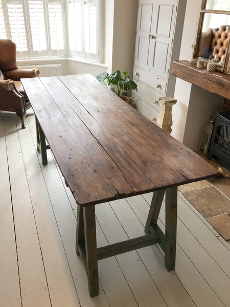 Long Vintage Trestle Table