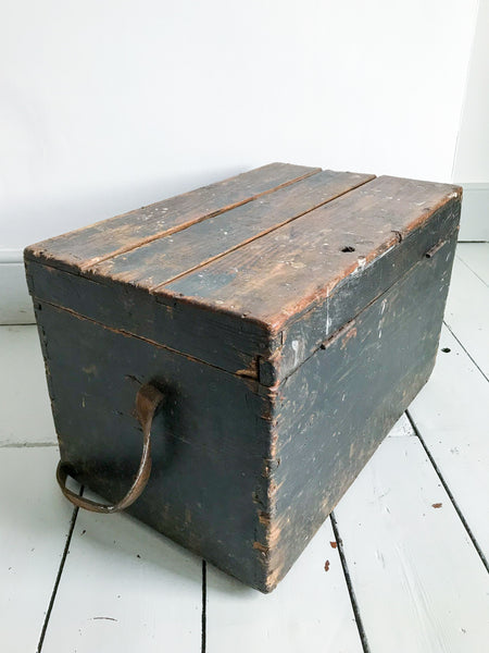 Vintage wooden toolbox with leather handle