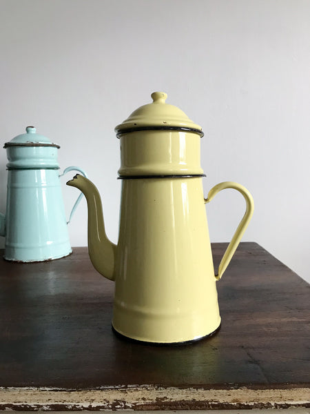 Vintage Enamel Coffee Jug (yellow)
