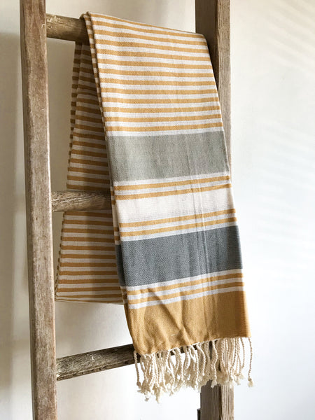 Cotton Stripe Hammam Towel - Mustard/Grey