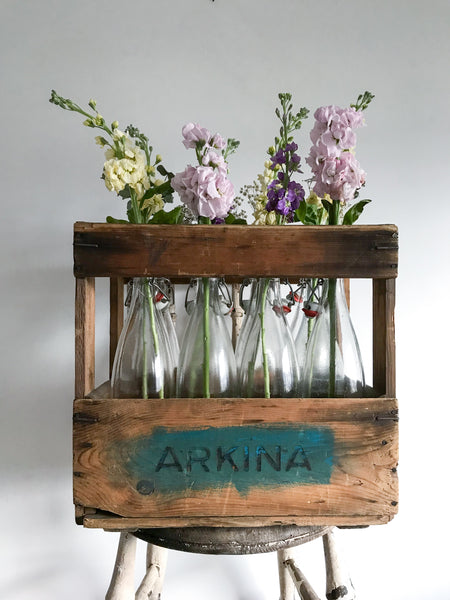 Vintage Wooden Crate and Glass Bottles