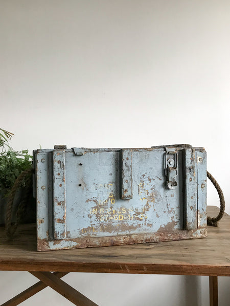 Vintage Blue Wooden Army Trunk