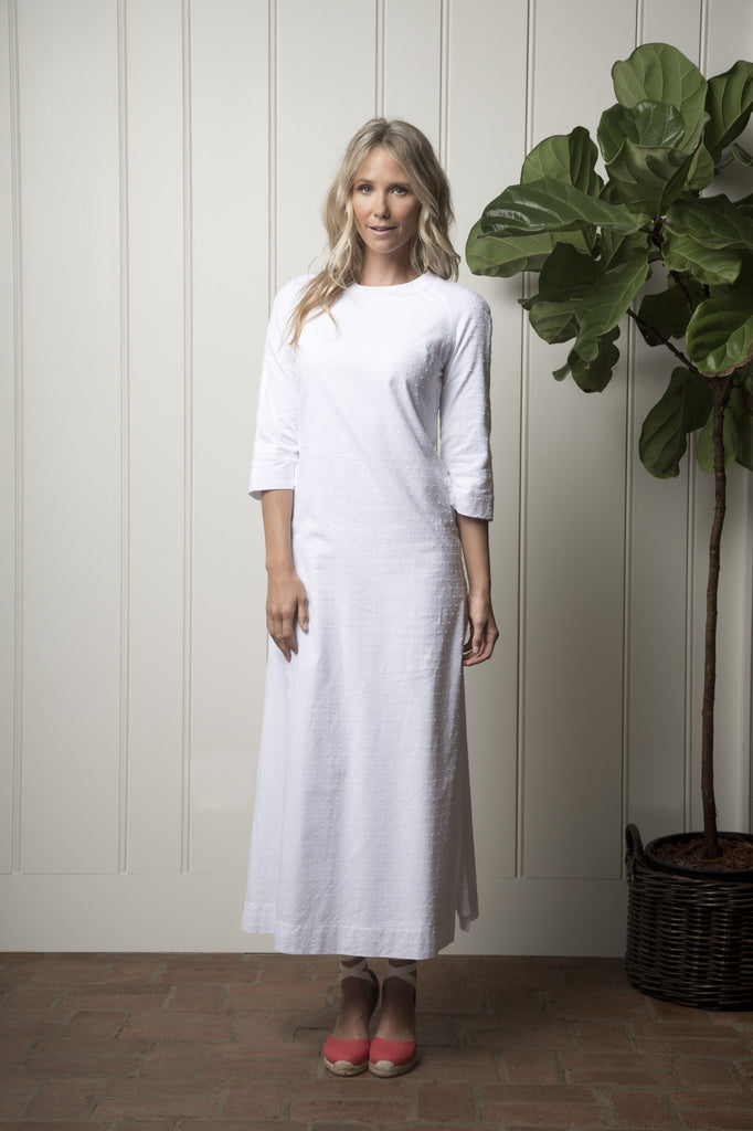Monterey Cabana Dress - White Dot