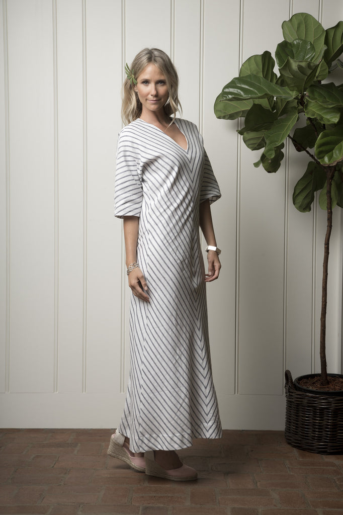 Santa Cruz Cabana Dress - Natural with Navy Chevron
