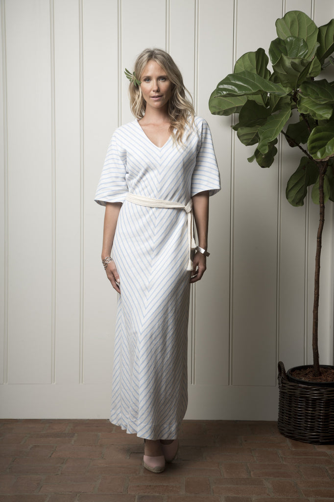 Santa Cruz Cabana Dress - Natural with Tidepool Chevron