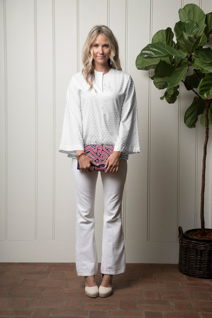 Portola Tunic - White Swiss Dot
